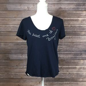"""LOFT Outlet Navy """"You had me at bonjour"""" Cap Tee"""